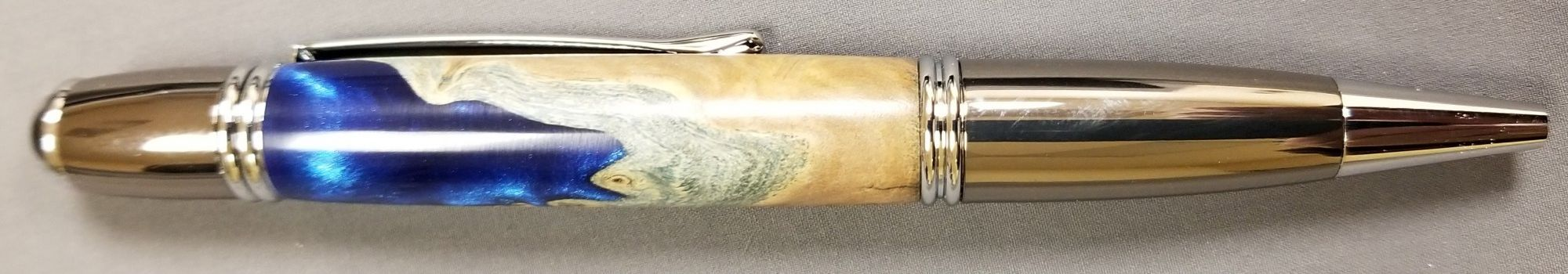 Gatsby Style Pen with Blue & Maple Burl